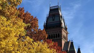 Harvard Memorial Hall tower in Fall