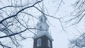Havard Memorial Church spire in winter snow
