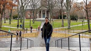 Jihwan Lee on Widener steps in Harvard Yard
