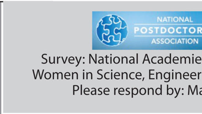 Anonymous Survey for all Postdocs - Sponsored by National Academies Committee on Women in STEM