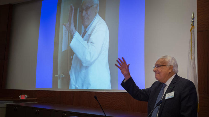 Attendees celebrate Claes Dohlman, MD, PhD, and his 60 years of contributions to corneal science and education.
