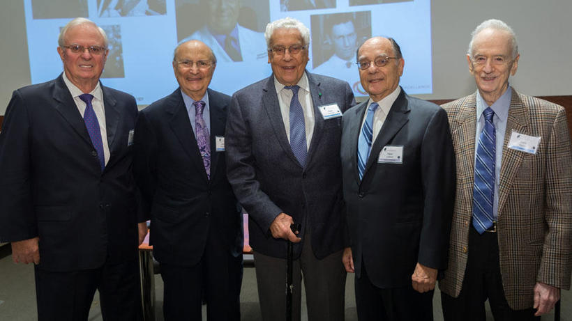Dr. Dohlman (center) with some of his first fellows: Stephen Klyce, PhD; James Aquavella, MD; Peter Laibson, MD;  Jules Baum, MD