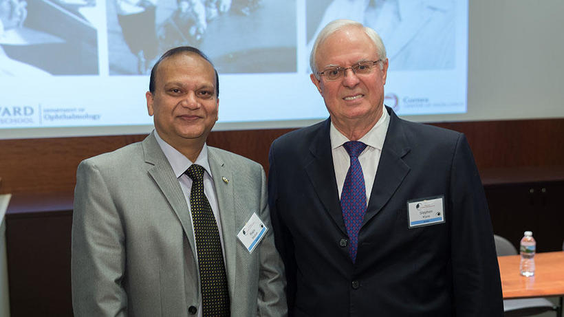 Speakers Rajiv Mohan, MSc, PhD, University of Missouri, and Stephen Klyce, PhD (class of 1967), Mount Sinai