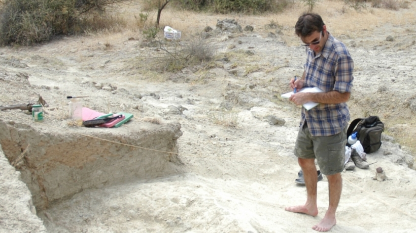 Prof. Christian Tryon excavating a Neanderthal site.
