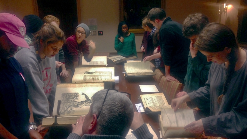 Students examine rare volumes at Houghton Library