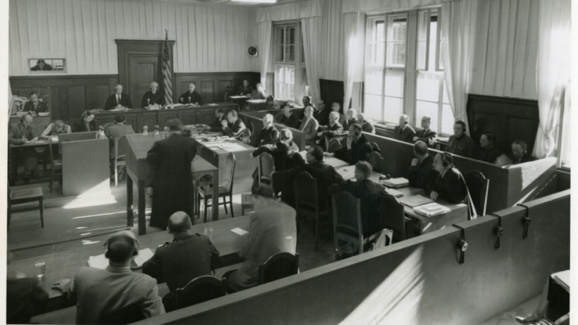courtroom three at the NMT 3 trial, 18 April 1947