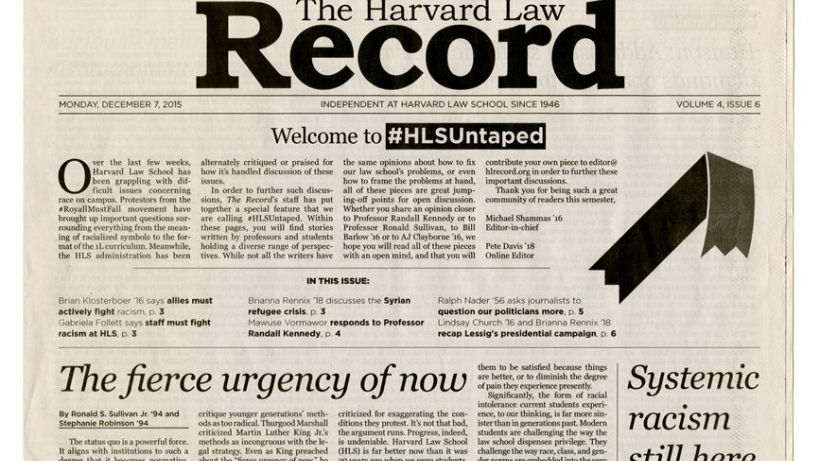 Above the fold of issue of Harvard Law Record-headline Welcome to #HLSUntaped