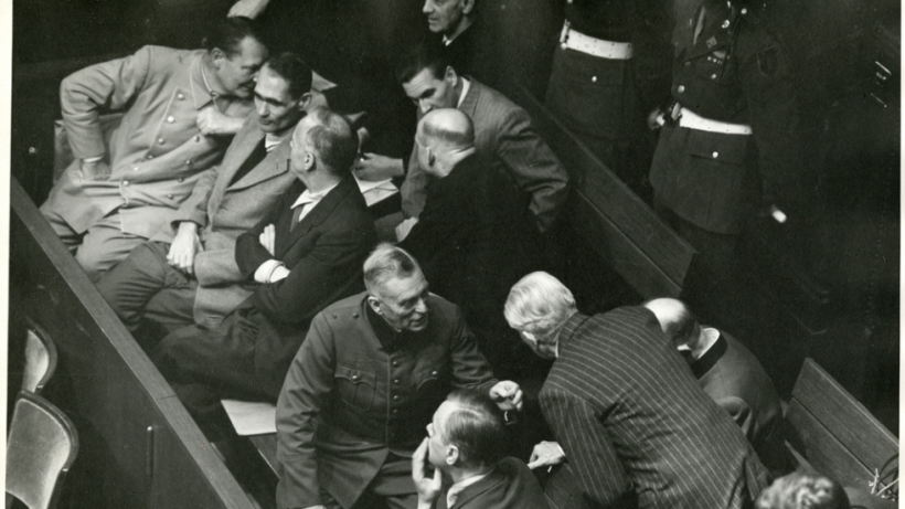 Nuremberg Trial defendants converse in the defendants' galley