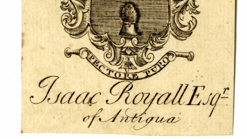 "Two bookplates, side by side with Royall crest and motto Pectore Puro, which means ""with a pure heart."""