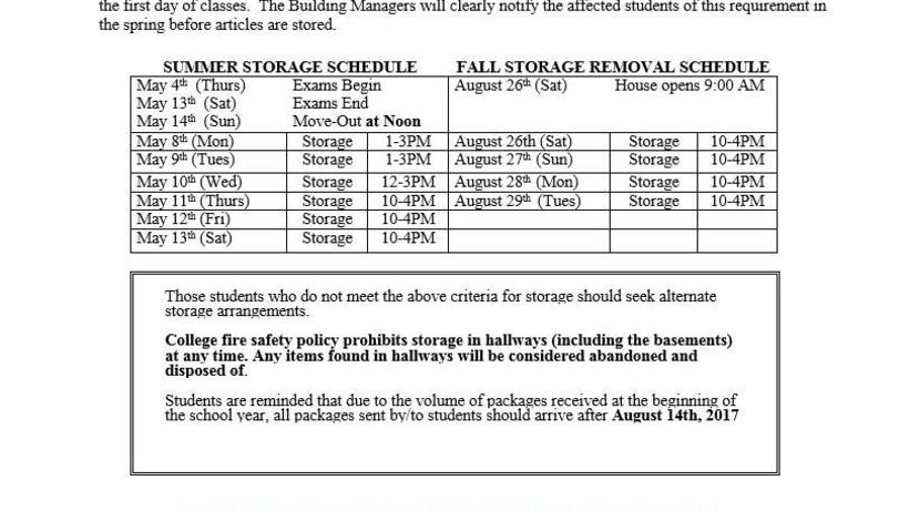 summer storage schedule