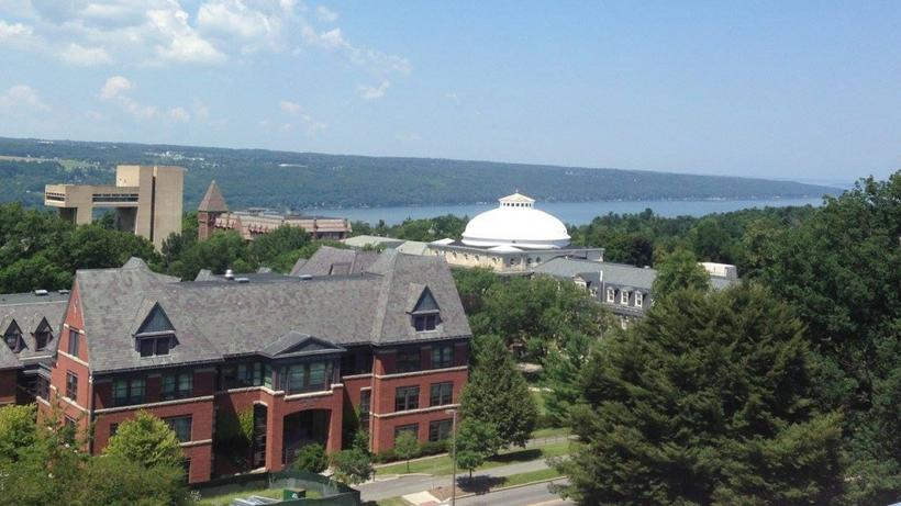 Sage Hall and Cayuga Lake