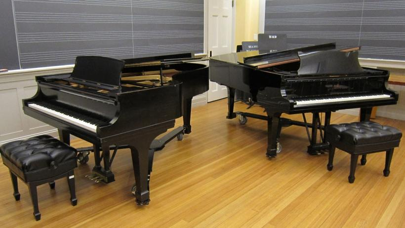 New York Steinway model B and Hamburg Steinway model B grand pianos in the Music Building, classroom 9