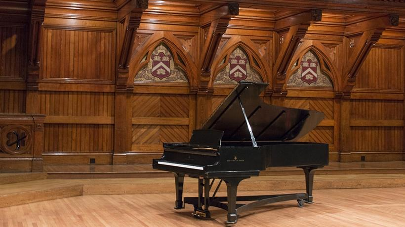 Steinway concert grand piano on the Sanders Theatre stage