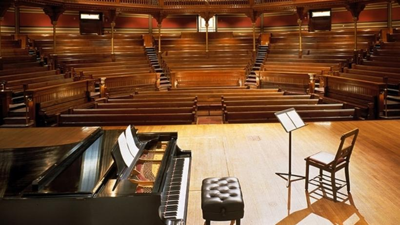 Steinway model D concert grand piano in Sanders Theatre from center stage