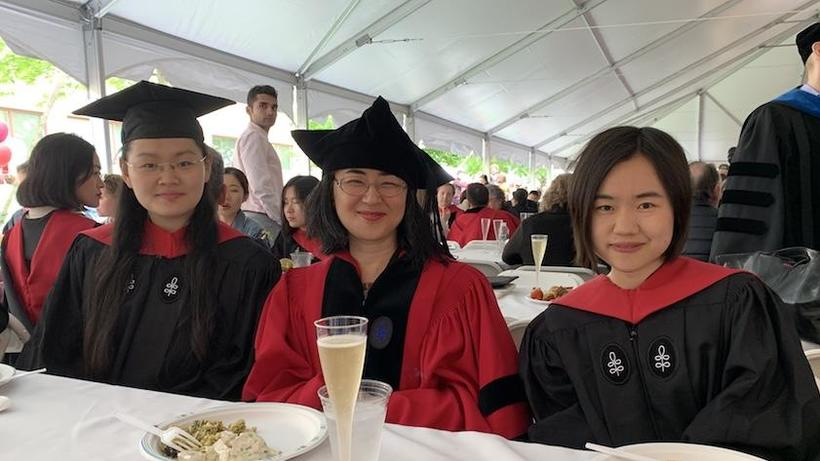Two RSEA graduates with Prof. Tian at GSAS Commencement lunch 2019