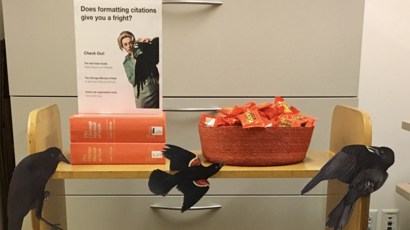 A book cart decorated with cut-outs of Audubon's Birds of America advertise citation manuals