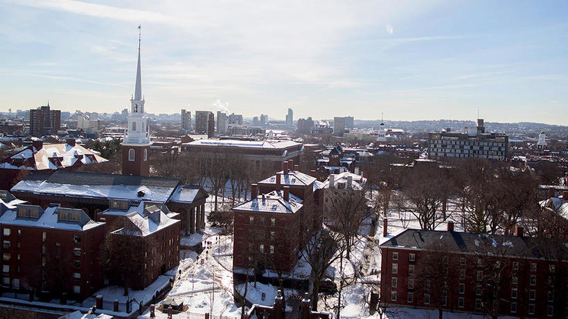 (photo of Harvard Yard and Cambridge and Boston in the distance)