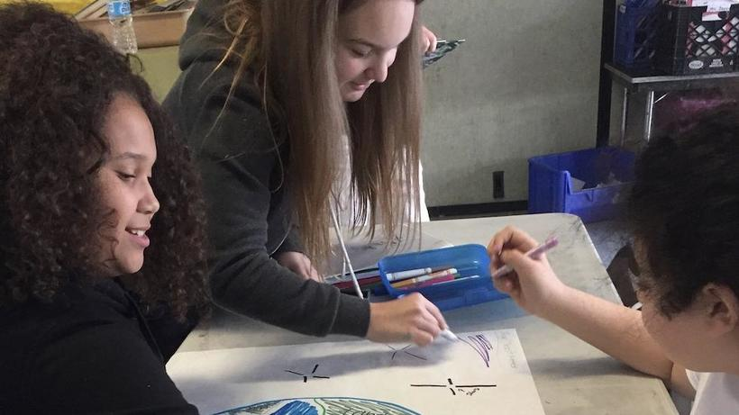 Students draw the Earth in Space