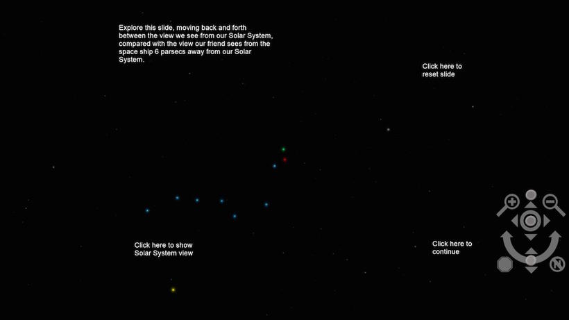 WWT Screen Capture demonstrating parallax with Big Dipper image