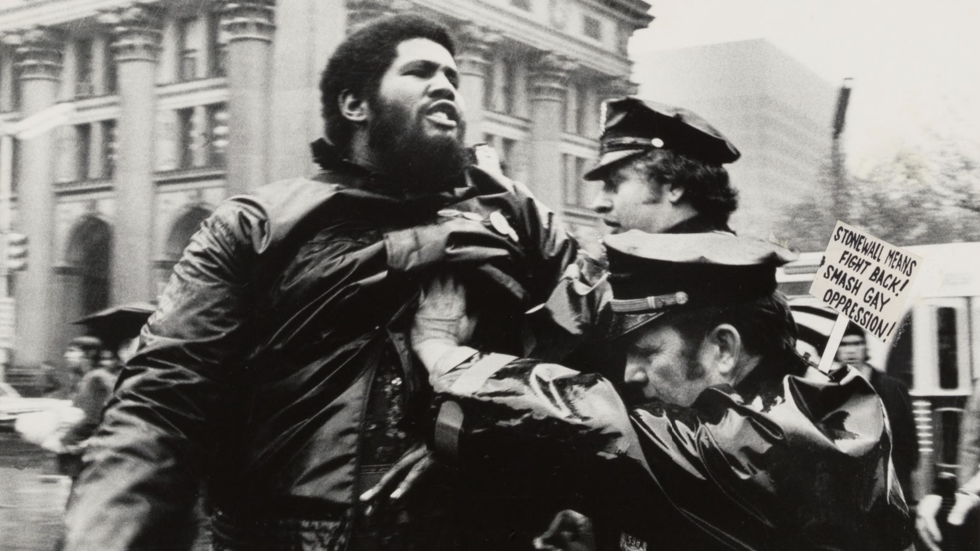 Intro 475 protest and arrests outside New York City Hall, 1975.