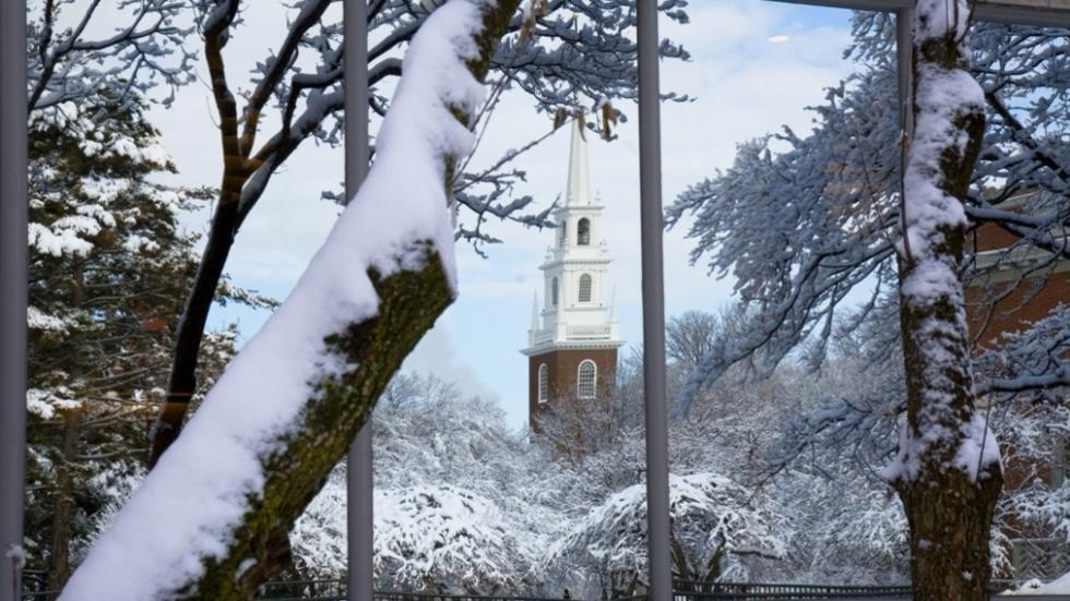 Winter Scene with Memorial Church Steeple.