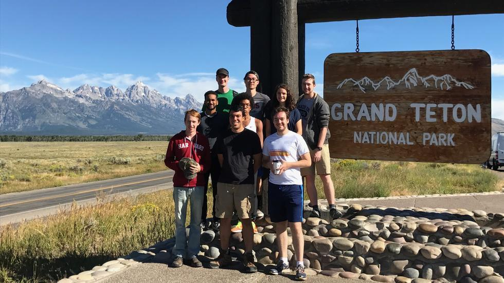 Group photo at Grand Teton National Park Sign