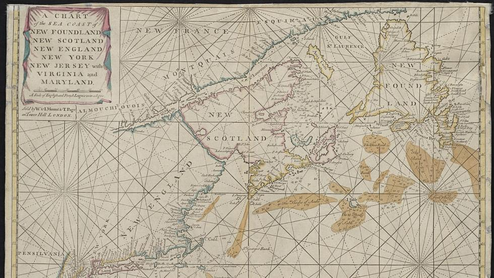 "Thornton's ""A chart of the sea coast of New Foundland..."" 1713 - Boston Public Library G3320 1713.T56"