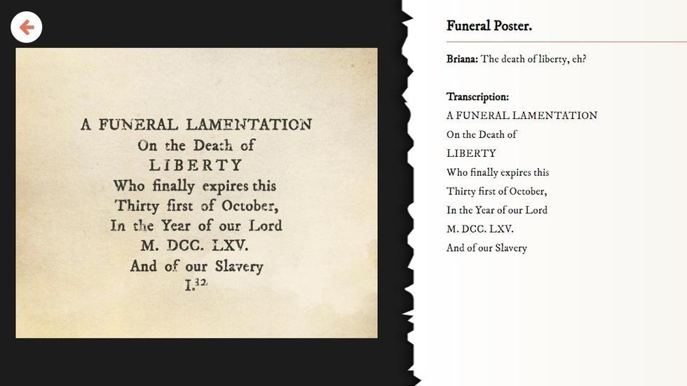 A Funeral Lamentation of the Death of Liberty, one of the historical documents used in the game