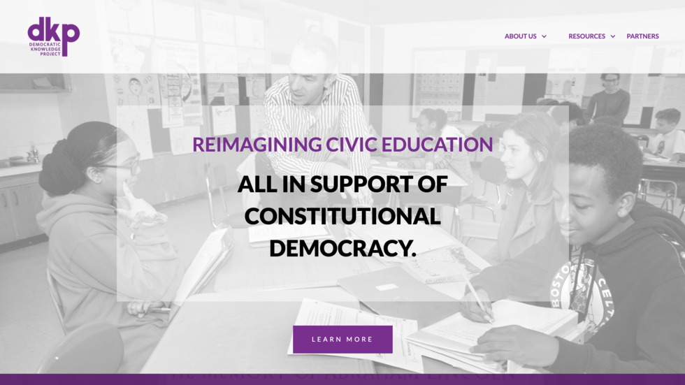 [Screenshot of the new Democratic Knowledge Project website at democraticknowledgeproject.org.]