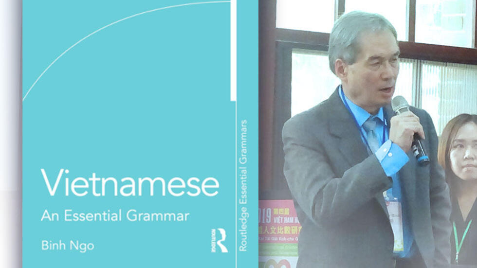 Vietnamese an Essential Grammar textbook on the left; image of Dr. Ngo speaking at a conference on the right.