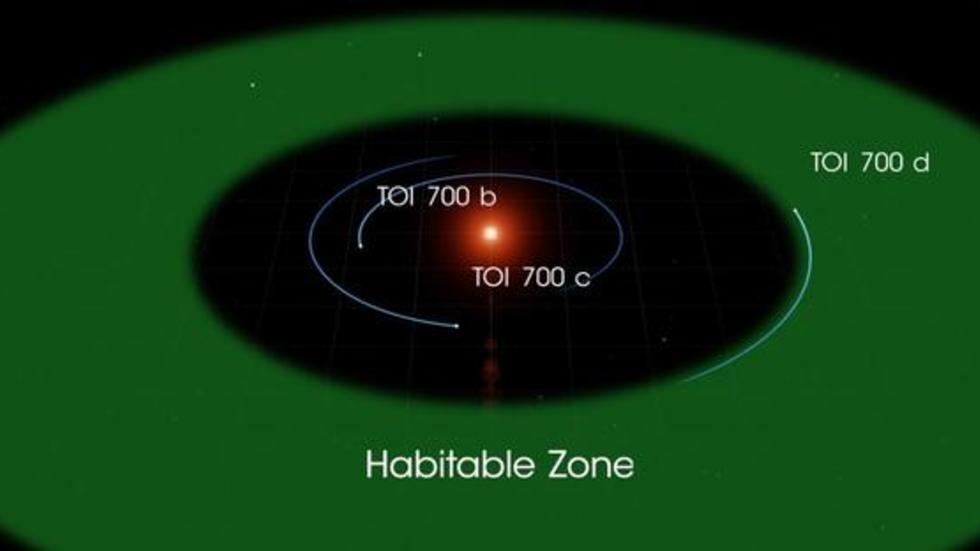 he three planets of the TOI 700 system, illustrated here, orbit a small, cool M dwarf star. TOI 700 d is the first Earth-size habitable-zone world discovered by TESS. Credit: NASA's Goddard Space Flight Center