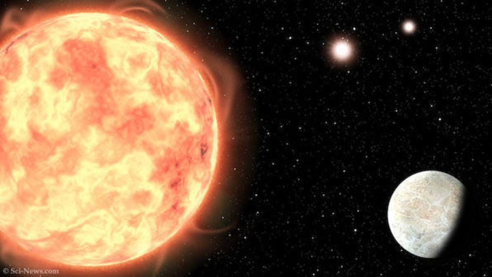 An artist's impression of LTT 1445Ab in the triple-star system LTT 1445. Image credit: Sci-News.com.