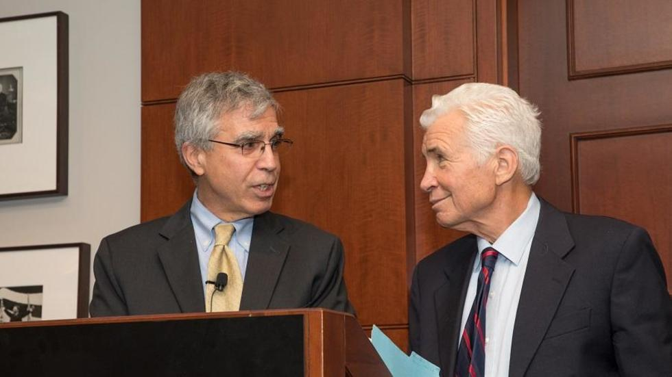 Rob Stavins and Martin Weitzman at Symposium in 2018