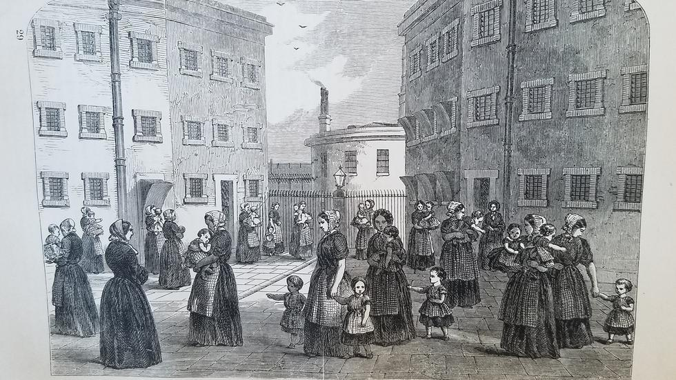 Image from book of mothers with their children exercising at Tothill Fields Prison