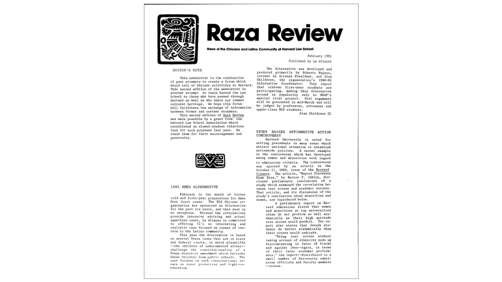 Raza Review: News of the Chicano and Latino community at Harvard Law School, 1981
