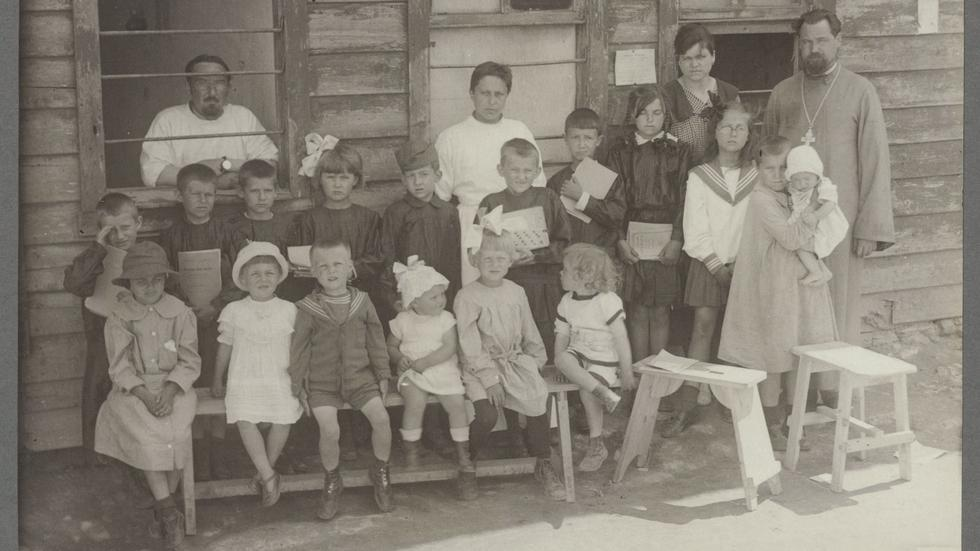 Photograph of Russian refugee school children in either Constantinople or Smyrna, Turkey in the early 1920s