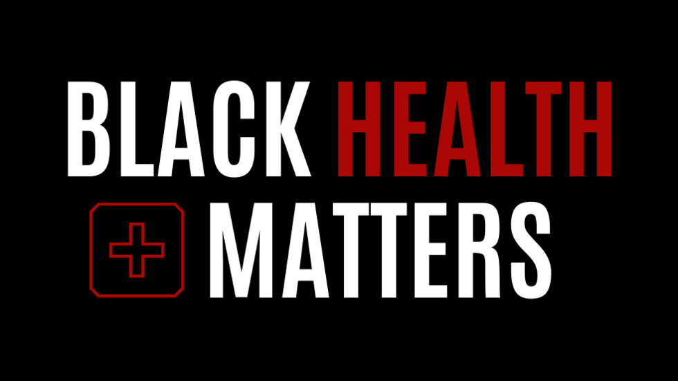Black background with white text: Black Health Matters. Icon of red cross.