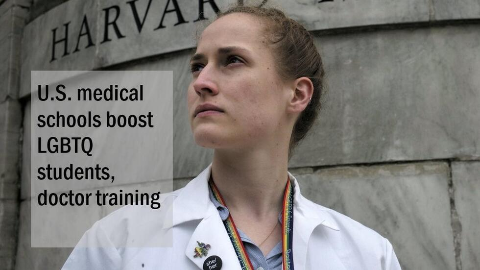 Photo of student Aliya Feroe in front of Harvard Medical School sign wearing white coat and rainbow lanyard. Text ID: U.S. medical schools boost LGBTQ students, doctor training