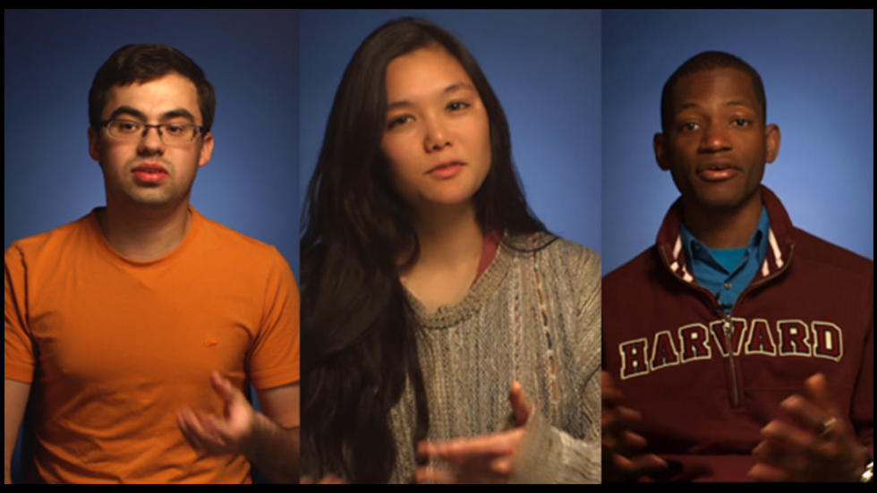 Screenshot from the What is Life Sciences video of three diverse students interviewed