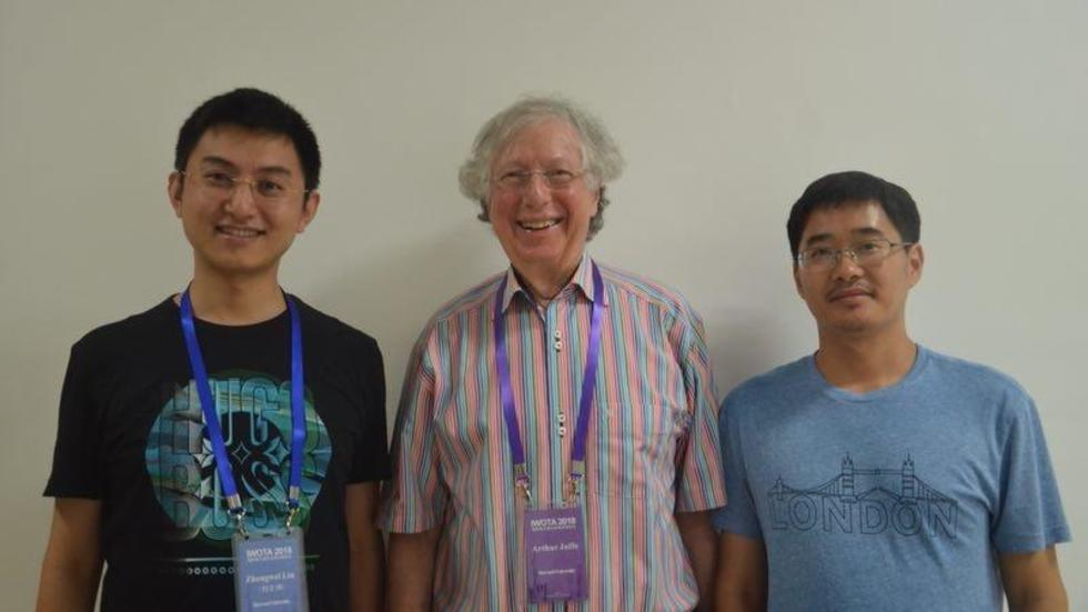 Zhengwei, Arthur and Jinsong at the IWOTA 2018 conference on operator algebras at East China Normal University in Shanghai.