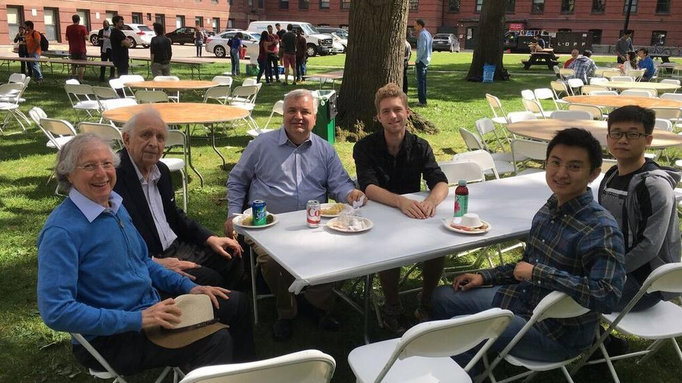 Arthur Jaffe, Roy Glauber, Adrian Ocneanu, Chase Bednarz, Zhengwei Liu, and Kaifeng Bu at a physics department picnic.