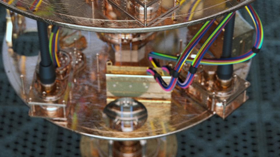 A close-up view of a quantum computer.