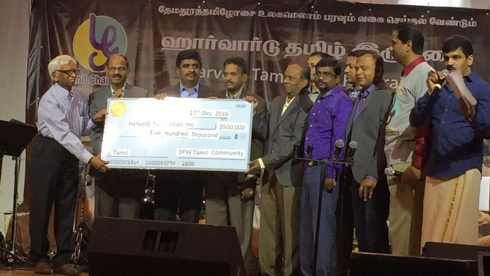 The Dallas-Fort Worth Tamil community raised $500,000 for the Harvard Tamil Chair on Dec 17, 2016