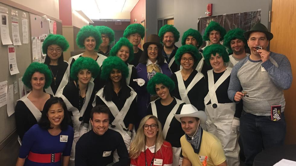 lab members dressed in Charlie & the Chocolate factory costumes