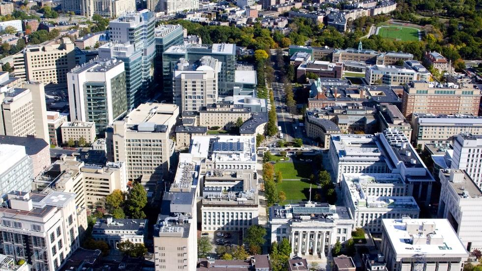 An aerial view of the Harvard Medical School campus