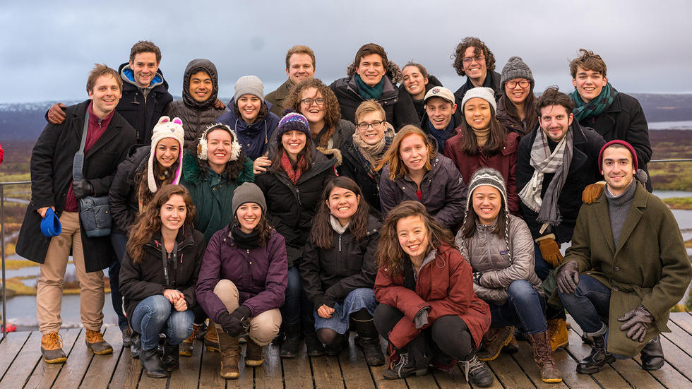 Group shot of Harvard University Choir on tour in Iceland