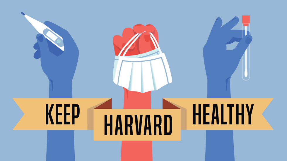 Graphic of hands holding mask, swab, and thermometer with banner saying Keep Harvard Healthy