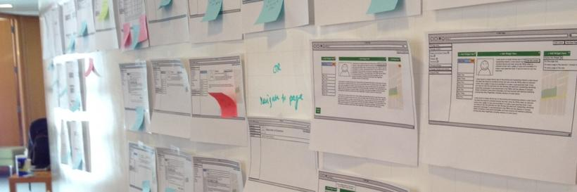 Wireframes and sticky notes