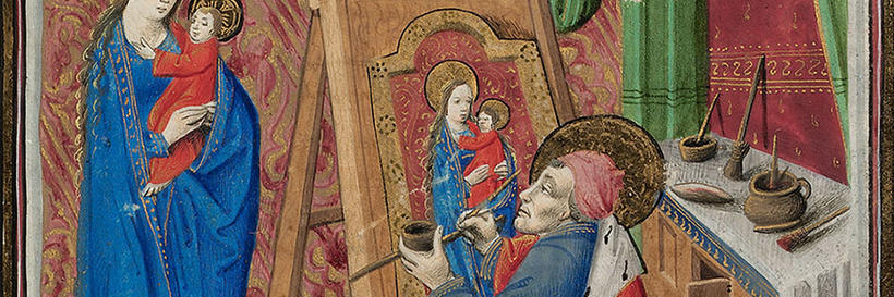 MS Richardson 7. Houghton Library,  f. 17: Luke painting the Virgin and Child
