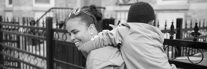 Photo of Evelyn with the son of her domestic partner in Long Island City, NY. Evelyn was released in 2012 after serving 17 years in prison. Photo by Sara Bennett